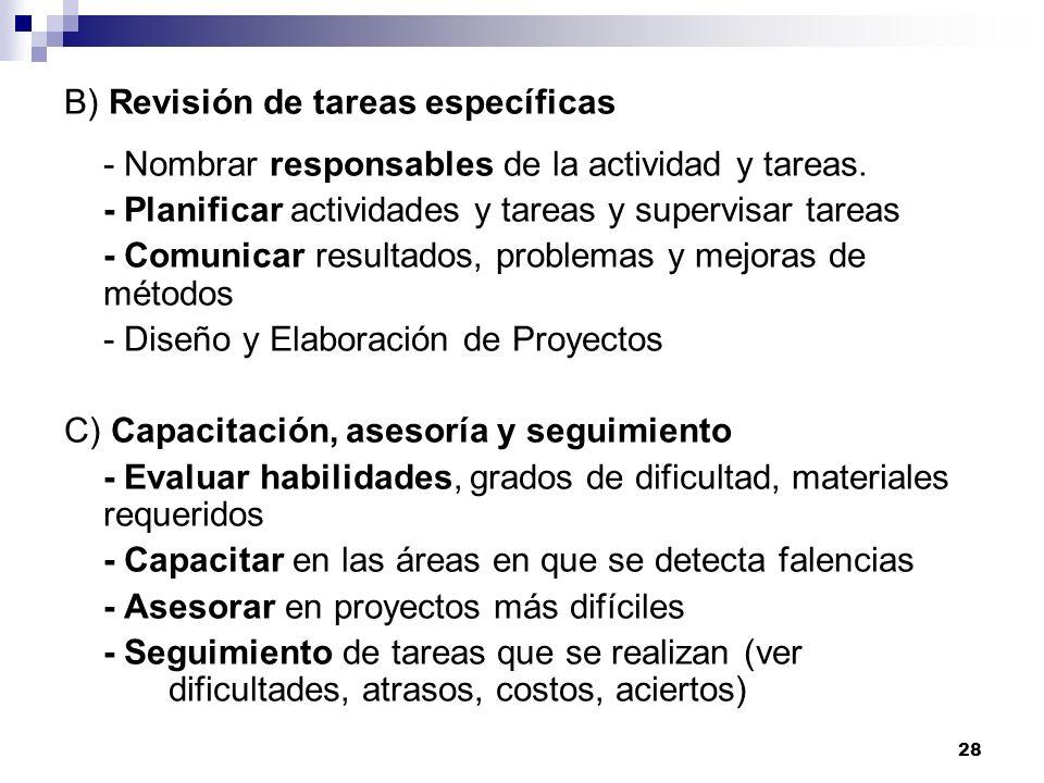 28 B) Revisión de tareas específicas - Nombrar responsables de la actividad y tareas. - Planificar actividades y tareas y supervisar tareas - Comunica