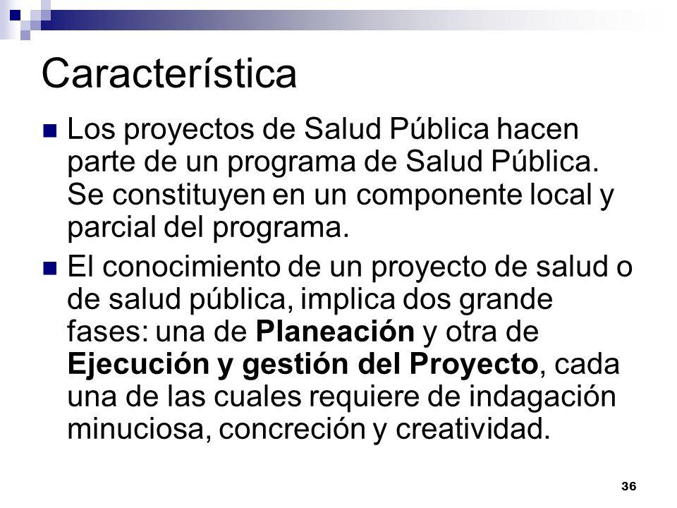 36 Característica Los proyectos de Salud Pública hacen parte de un programa de Salud Pública. Se constituyen en un componente local y parcial del prog