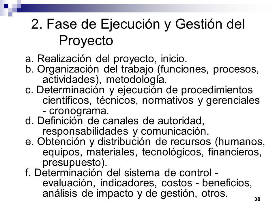 38 2. Fase de Ejecución y Gestión del Proyecto a. Realización del proyecto, inicio. b. Organización del trabajo (funciones, procesos, actividades), me