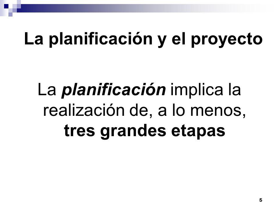 5 La planificación y el proyecto La planificación implica la realización de, a lo menos, tres grandes etapas