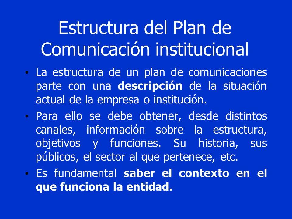 Estructura del Plan de Comunicación institucional La estructura de un plan de comunicaciones parte con una descripción de la situación actual de la em