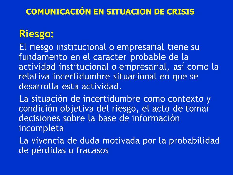 COMUNICACIÓN EN SITUACION DE CRISIS Riesgo: El riesgo institucional o empresarial tiene su fundamento en el carácter probable de la actividad instituc