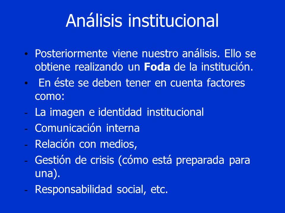 Análisis institucional Posteriormente viene nuestro análisis. Ello se obtiene realizando un Foda de la institución. En éste se deben tener en cuenta f