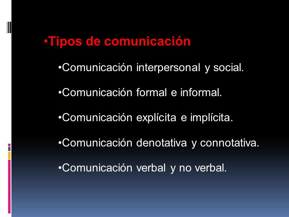 Tipos de comunicación Comunicación interpersonal y social. Comunicación formal e informal. Comunicación explícita e implícita. Comunicación denotativa