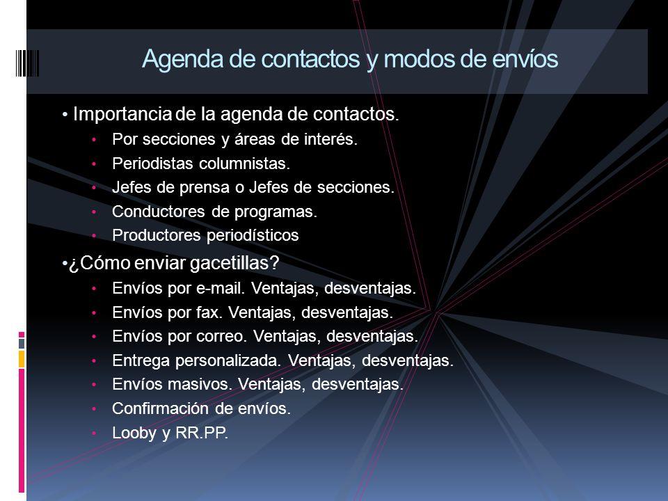Importancia de la agenda de contactos. Por secciones y áreas de interés.