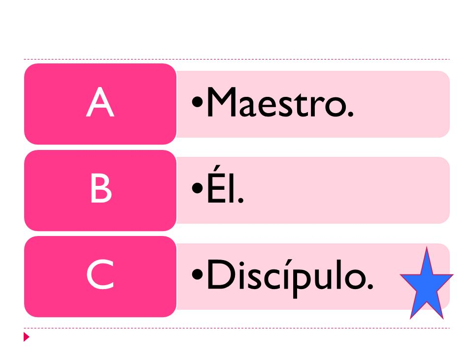 Maestro. A Él. B Discípulo. C