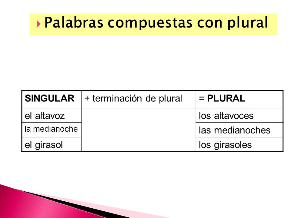Palabras compuestas con plural SINGULAR+ terminación de plural= PLURAL el altavozlos altavoces la medianoche las medianoches el girasollos girasoles