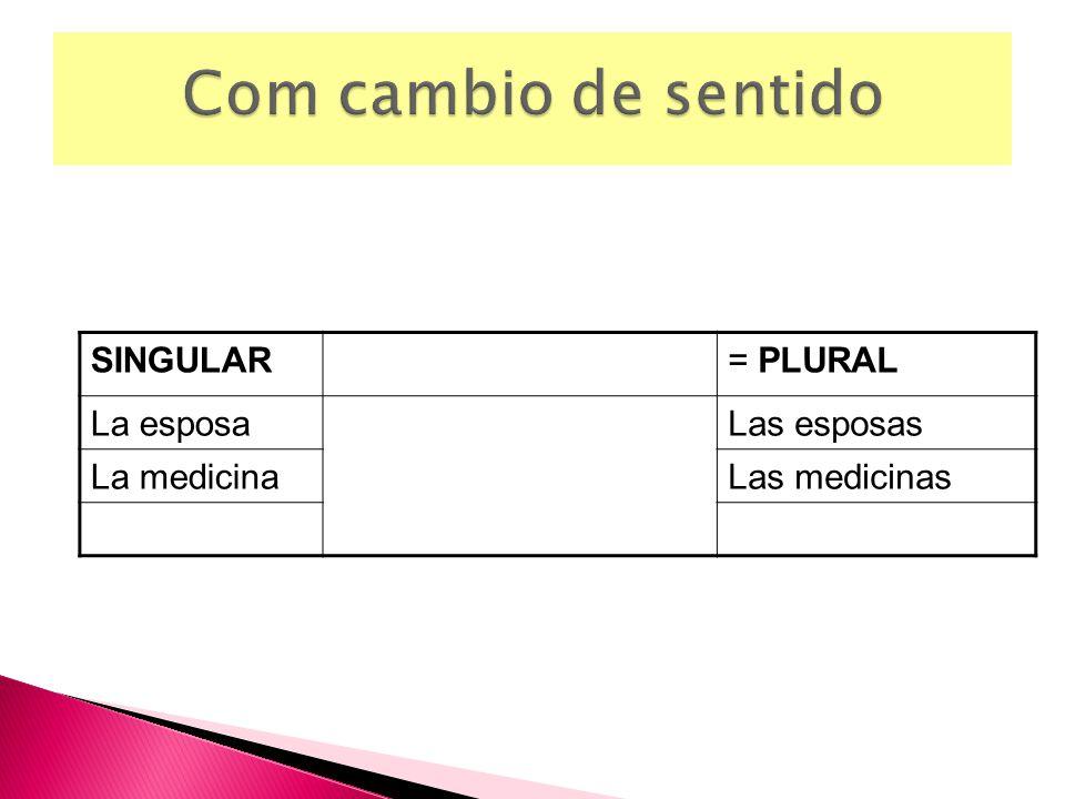 SINGULAR= PLURAL La esposaLas esposas La medicinaLas medicinas