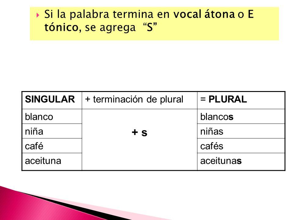 Si la palabra termina en vocal átona o E tónico, se agrega S SINGULAR+ terminación de plural= PLURAL blanco + s blancos niñaniñas cafécafés aceitunaac