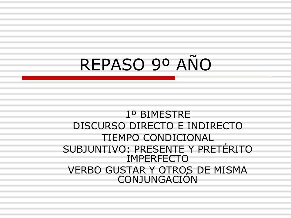 CONJUGACIÓN DEL IMPERFECTO: