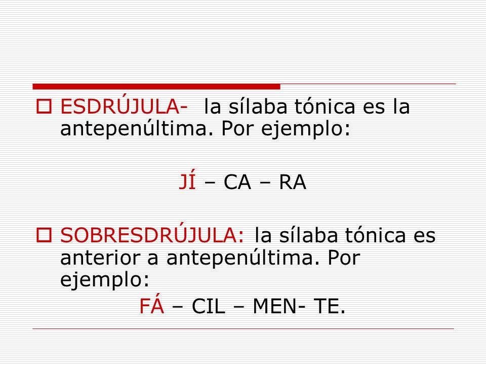ESDRÚJULA- la sílaba tónica es la antepenúltima. Por ejemplo: JÍ – CA – RA SOBRESDRÚJULA: la sílaba tónica es anterior a antepenúltima. Por ejemplo: F