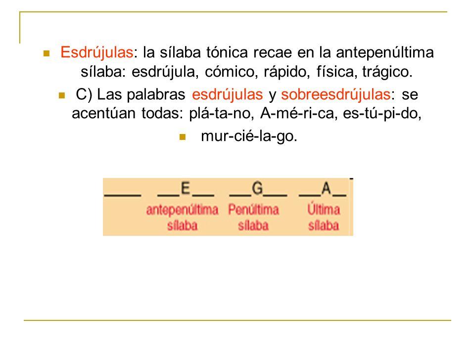 Esdrújulas: la sílaba tónica recae en la antepenúltima sílaba: esdrújula, cómico, rápido, física, trágico. C) Las palabras esdrújulas y sobreesdrújula