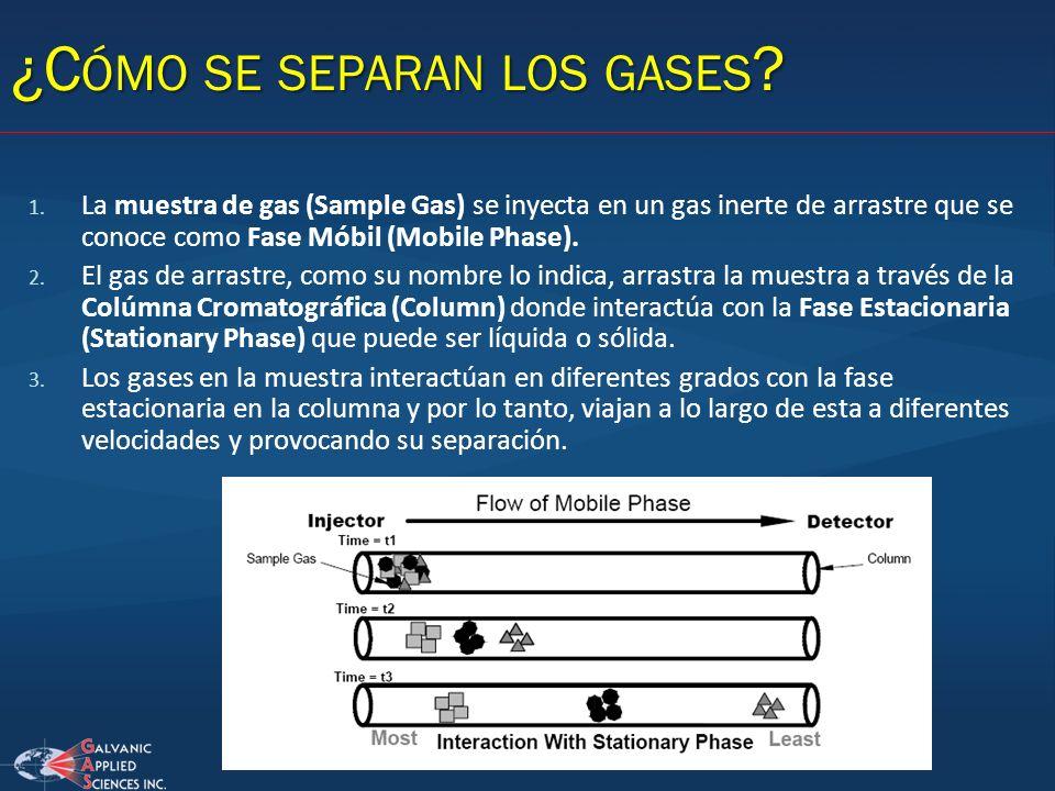 1. La muestra de gas (Sample Gas) se inyecta en un gas inerte de arrastre que se conoce como Fase Móbil (Mobile Phase). 2. El gas de arrastre, como su