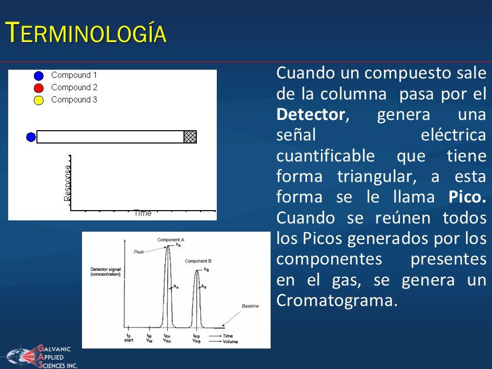 Cuando un compuesto sale de la columna pasa por el Detector, genera una señal eléctrica cuantificable que tiene forma triangular, a esta forma se le l