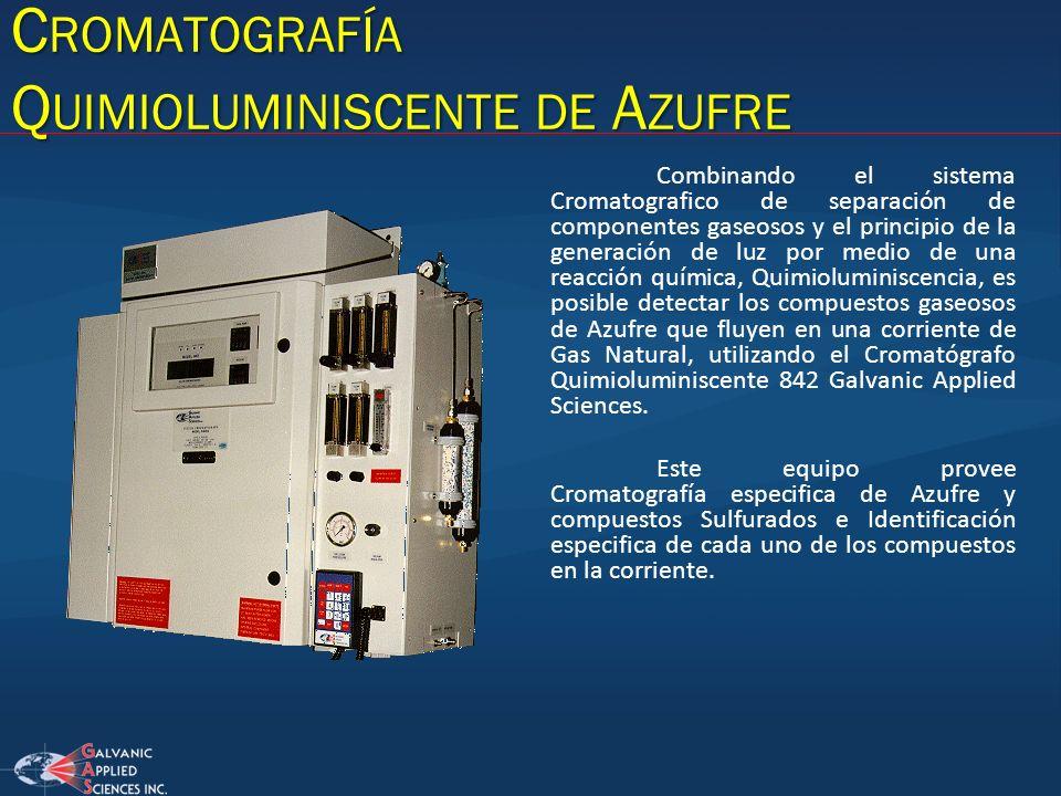 C ROMATOGRAFÍA Q UIMIOLUMINISCENTE DE A ZUFRE Combinando el sistema Cromatografico de separación de componentes gaseosos y el principio de la generaci