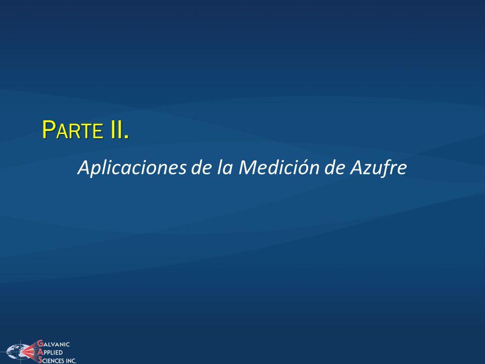 P ARTE II. Aplicaciones de la Medición de Azufre