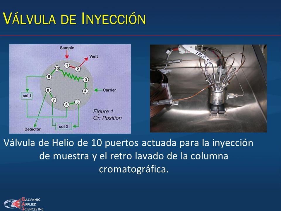 V ÁLVULA DE I NYECCIÓN Válvula de Helio de 10 puertos actuada para la inyección de muestra y el retro lavado de la columna cromatográfica.