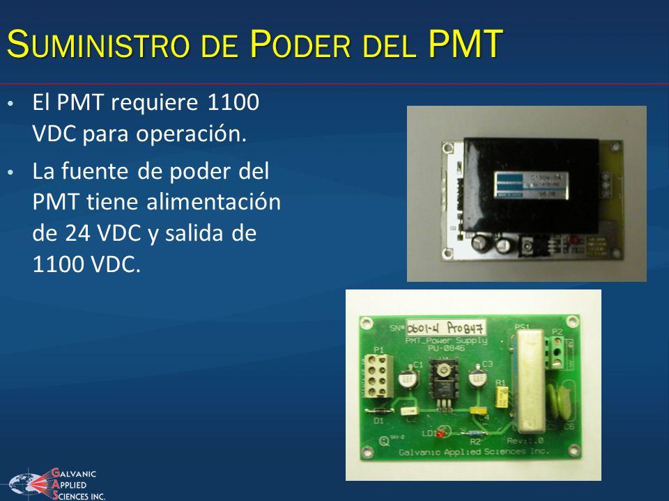 El PMT requiere 1100 VDC para operación. La fuente de poder del PMT tiene alimentación de 24 VDC y salida de 1100 VDC. S UMINISTRO DE P ODER DEL PMT