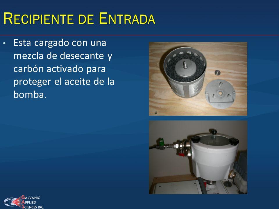R ECIPIENTE DE E NTRADA Esta cargado con una mezcla de desecante y carbón activado para proteger el aceite de la bomba.