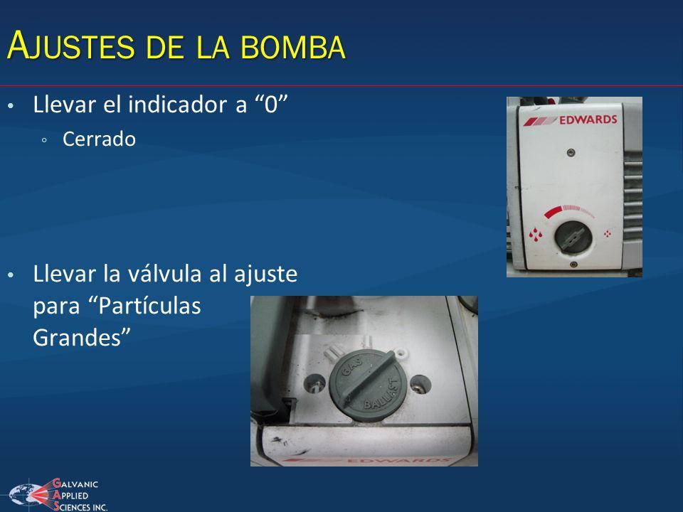 A JUSTES DE LA BOMBA Llevar el indicador a 0 Cerrado Llevar la válvula al ajuste para Partículas Grandes