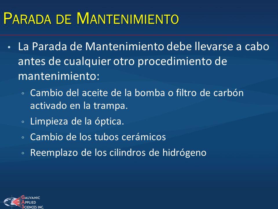 La Parada de Mantenimiento debe llevarse a cabo antes de cualquier otro procedimiento de mantenimiento: Cambio del aceite de la bomba o filtro de carb