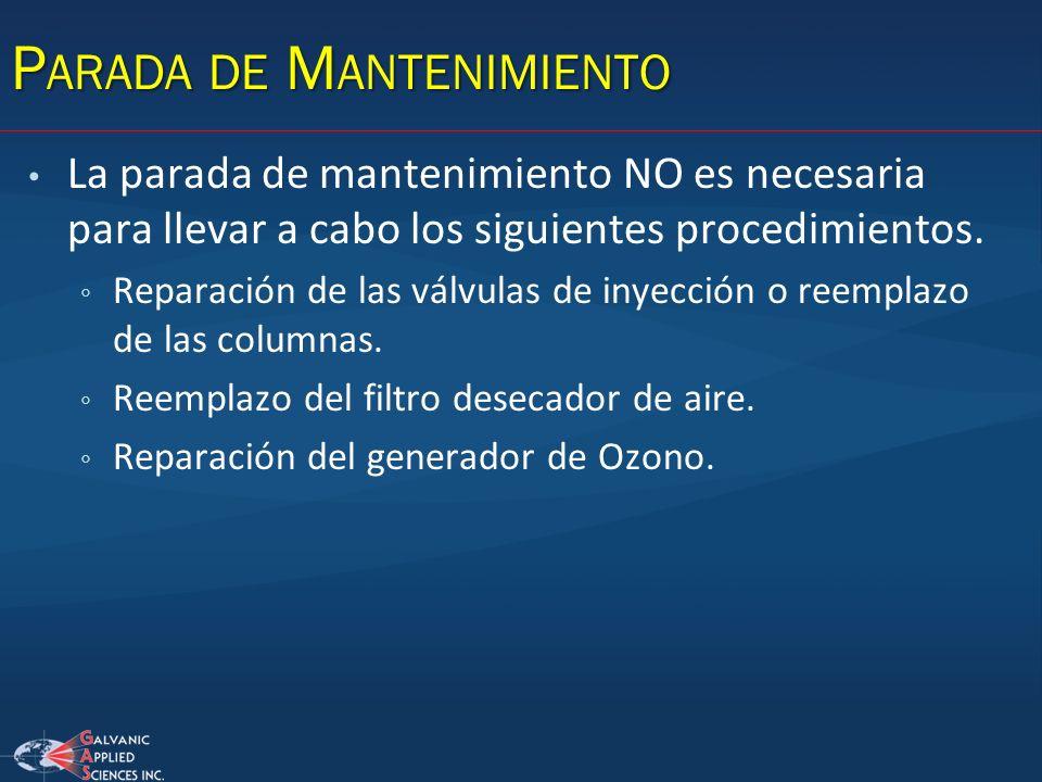 La parada de mantenimiento NO es necesaria para llevar a cabo los siguientes procedimientos. Reparación de las válvulas de inyección o reemplazo de la