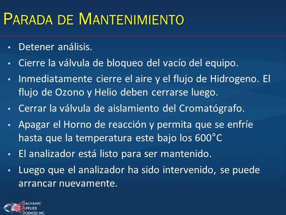 P ARADA DE M ANTENIMIENTO Detener análisis. Cierre la válvula de bloqueo del vacío del equipo. Inmediatamente cierre el aire y el flujo de Hidrogeno.