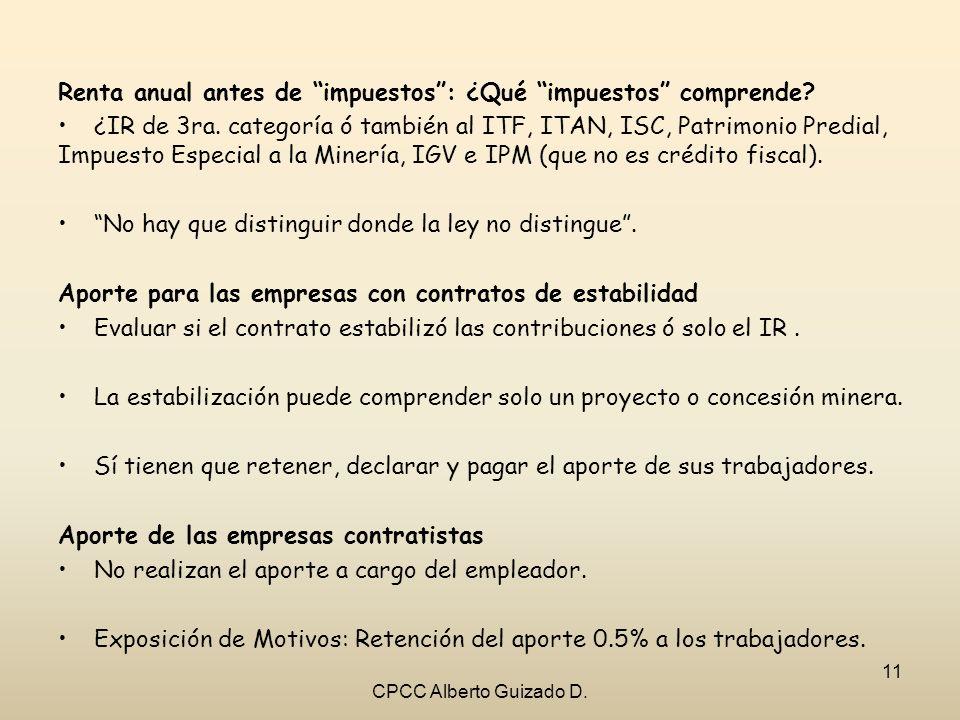 Renta anual antes de impuestos: ¿Qué impuestos comprende? ¿IR de 3ra. categoría ó también al ITF, ITAN, ISC, Patrimonio Predial, Impuesto Especial a l