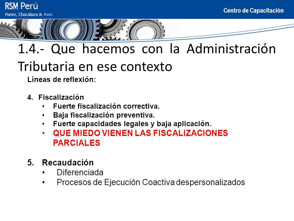Centro de Capacitación 1.4.- Que hacemos con la Administración Tributaria en ese contexto Líneas de reflexión: 4.Fiscalización Fuerte fiscalización co