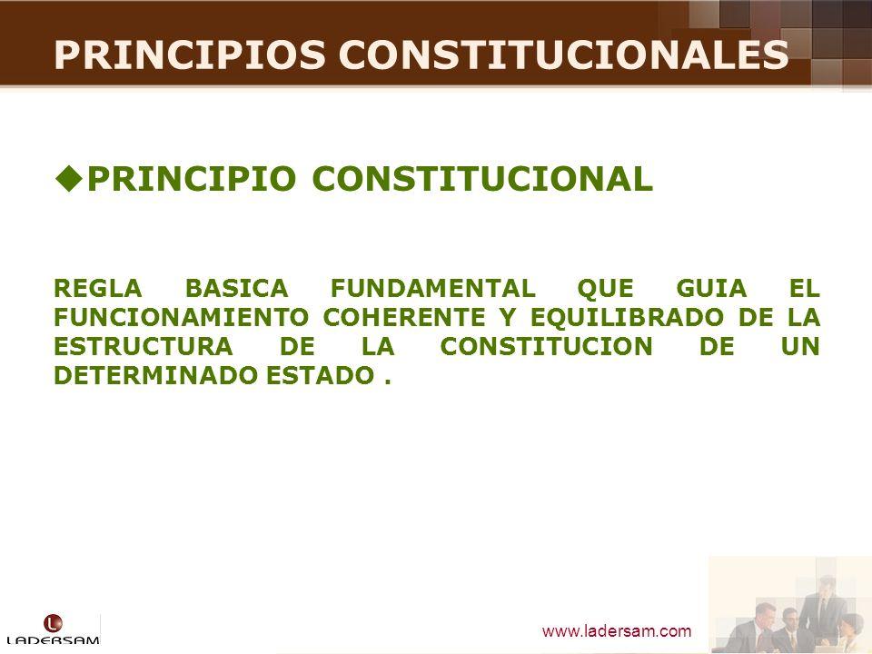 www.ladersam.com PRINCIPIOS CONSTITUCIONALES PRINCIPIOS CONSTITUCIONALES TRIBUTARIOS EL ARTÍCULO 139° DE LA CONSTITUCIÓN DE 1979 SE SEÑALABA LO SIGUIENTE: SÓLO POR LEY EXPRESA SE CREAN, MODIFICAN O SUPRIMEN TRIBUTOS Y SE CONCEDEN EXONERACIONES Y OTROS BENEFICIOS TRIBUTARIOS.