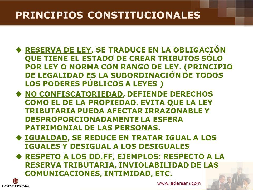 www.ladersam.com PROPUESTA MODIFICACION C.T DEFINICION DE TRIBUTO Es la obligación jurídica pecuniaria, ex lege, que no constituye sanción de acto ilícito, cuyo sujeto activo es, en principio una persona pública, y cuyo sujeto pasivo es alguien puesto en esa situación por voluntad de la ley STC 03303-2003-AA/TC (f.j.