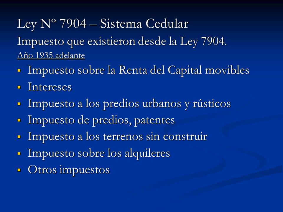 Ley Nº 7904 – Sistema Cedular Impuesto que existieron desde la Ley 7904. Año 1935 adelante Impuesto sobre la Renta del Capital movibles Impuesto sobre