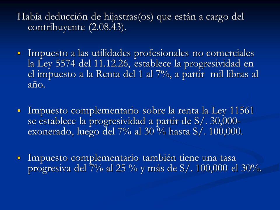Había deducción de hijastras(os) que están a cargo del contribuyente (2.08.43). Impuesto a las utilidades profesionales no comerciales la Ley 5574 del