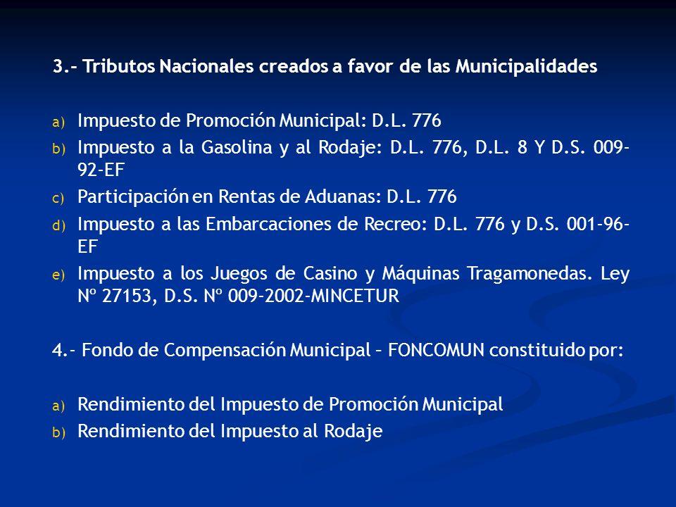 3.- Tributos Nacionales creados a favor de las Municipalidades a) Impuesto de Promoción Municipal: D.L. 776 b) Impuesto a la Gasolina y al Rodaje: D.L