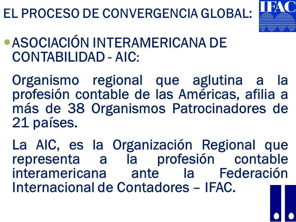 EL PROCESO DE CONVERGENCIA GLOBAL: ASOCIACIÓN INTERAMERICANA DE CONTABILIDAD - AIC : Organismo regional que aglutina a la profesión contable de las Américas, afilia a más de 38 Organismos Patrocinadores de 21 países.