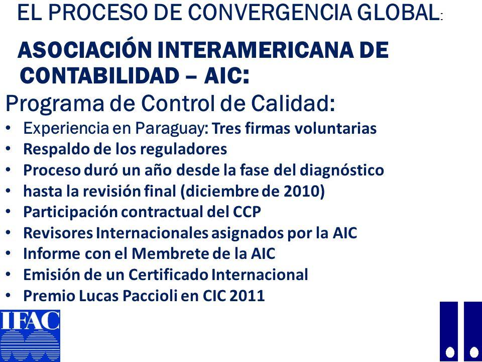 25 EL PROCESO DE CONVERGENCIA GLOBAL : ASOCIACIÓN INTERAMERICANA DE CONTABILIDAD – AIC : Programa de Control de Calidad: Experiencia en Paraguay: Tres firmas voluntarias Respaldo de los reguladores Proceso duró un año desde la fase del diagnóstico hasta la revisión final (diciembre de 2010) Participación contractual del CCP Revisores Internacionales asignados por la AIC Informe con el Membrete de la AIC Emisión de un Certificado Internacional Premio Lucas Paccioli en CIC 2011
