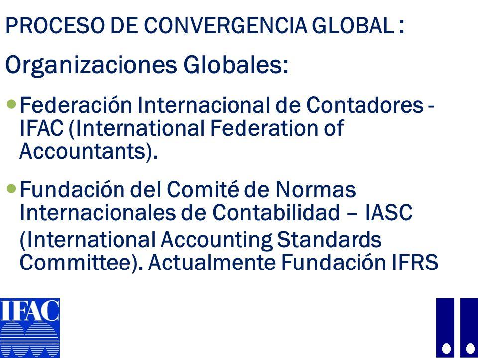PROCESO DE CONVERGENCIA GLOBAL : La Fundación del Comité de Normas Internacionales de Contabilidad-IASC - IFRS, a través del IASB y el CINIIF, emite los siguientes pronunciamientos: Normas Internacionales de Información Financiera–NIIF (IFRS, International Financial Reporting Standards), que incluyen a las: Normas Internacionales de Contabilidad – NIC Interpretaciones de las Normas Internacionales de Contabilidad – CINIIF – SIC.