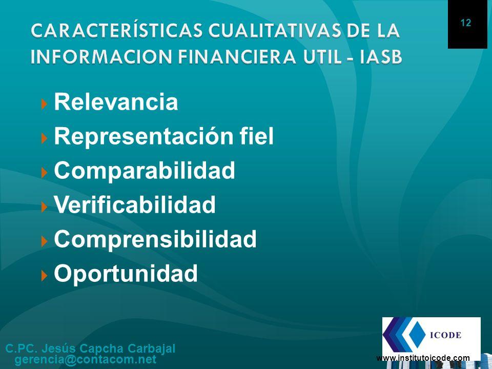 C.PC. Jesús Capcha Carbajal gerencia@contacom.net www.institutoicode.com 12 Relevancia Representación fiel Comparabilidad Verificabilidad Comprensibil