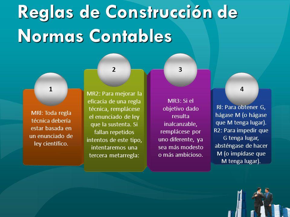 Reglas de Construcción de Normas Contables 1 23 4 MRl: Toda regla técnica debería estar basada en un enunciado de ley científico. MR2: Para mejorar la
