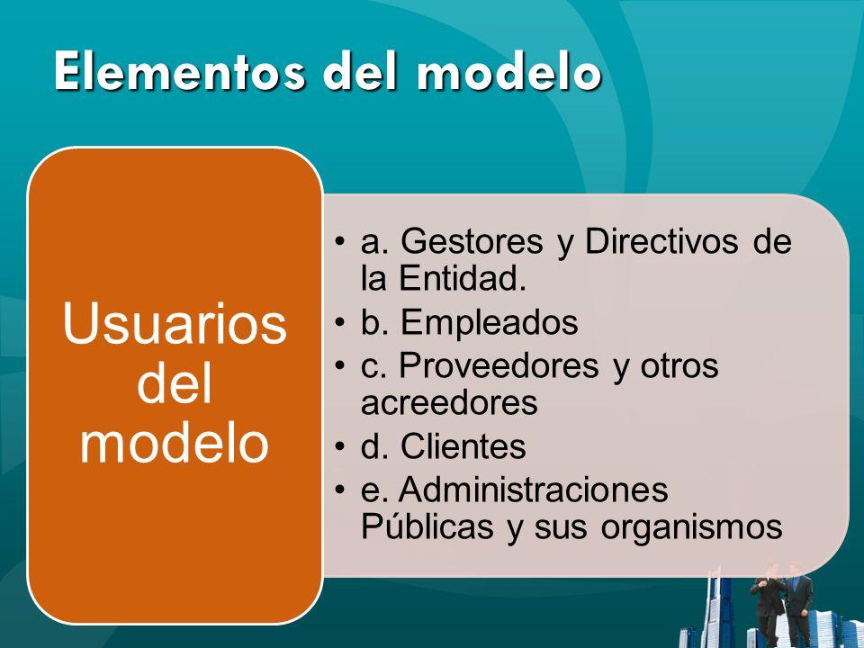 Elementos del modelo a. Gestores y Directivos de la Entidad. b. Empleados c. Proveedores y otros acreedores d. Clientes e. Administraciones Públicas y