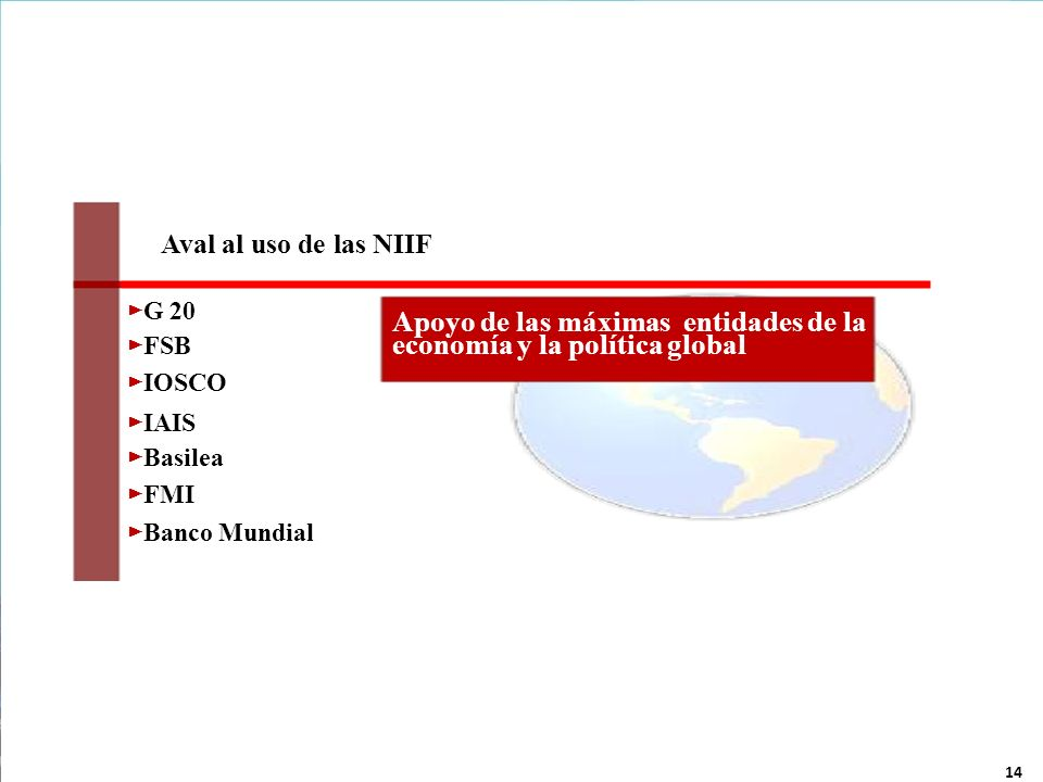 14 Hernán P. CASINELLI Aval al uso de las NIIF G 20 FSB IOSCO IAIS Basilea FMI Banco Mundial Apoyo de las máximas entidades de la economía y la políti
