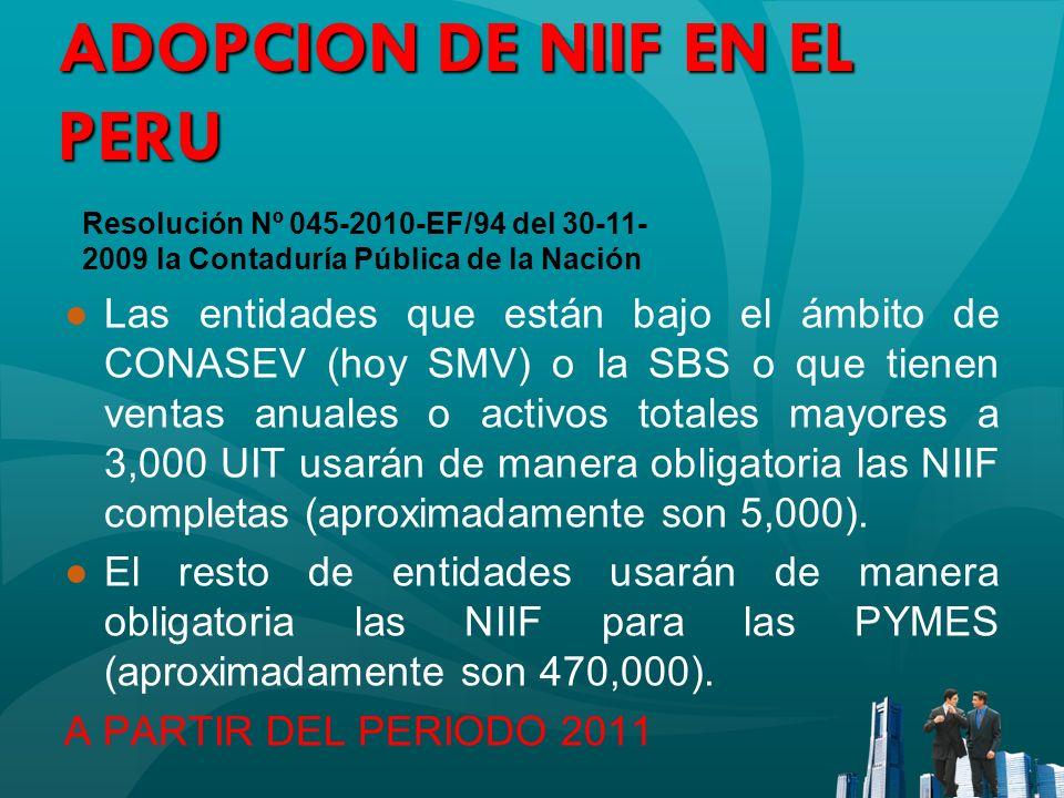 ADOPCION DE NIIF EN EL PERU Las entidades que están bajo el ámbito de CONASEV (hoy SMV) o la SBS o que tienen ventas anuales o activos totales mayores