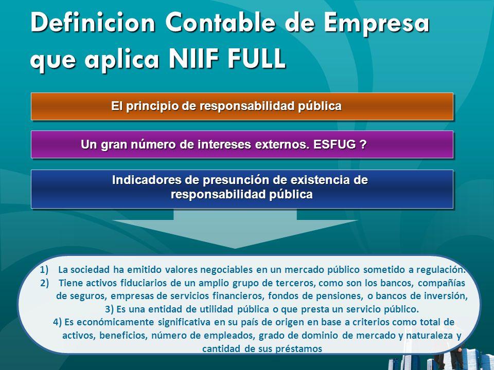 Definicion Contable de Empresa que aplica NIIF FULL El principio de responsabilidad pública 1)La sociedad ha emitido valores negociables en un mercado
