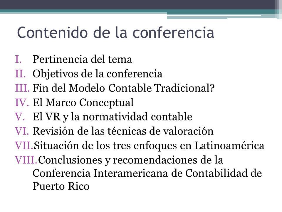 Conferencia Interamericana de Contabilidad Recomendaciones Comisión Técnica de Administración y Finanzas – AIC 4.Que las entidades gubernamentales supervisoras de empresas, valores y tributos, así como los Consejos Normativos de Contabilidad en los países de Latinoamérica, que se encuentran adaptando su normatividad a los nuevos conceptos de valoración de las NIC-NIIF`s, concilien no sólo los contenidos sino también la fecha de entrada en vigencia de dichas normas, considerando que es necesario contar con un periodo previo de preparación de los profesionales contables antes de su implementación, que evite la aplicación de sanciones y multas tanto a las empresas como al Contador Público 5.Que el Contador Público de América Latina debe tomar conciencia del importante papel que le toca jugar en el propósito de los organismos contables globales y locales, universidades, entidades gubernamentales supervisoras y empresas en general, de contar con información relevante y confiable, contenida en los EEFF y contar con los elementos esenciales para el adecuado funcionamiento de cualquier economía de mercado.