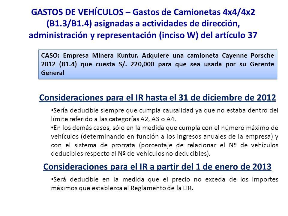 GASTOS DE VEHÍCULOS – Gastos de Camionetas 4x4/4x2 (B1.3/B1.4) asignadas a actividades de dirección, administración y representación (inciso W) del ar