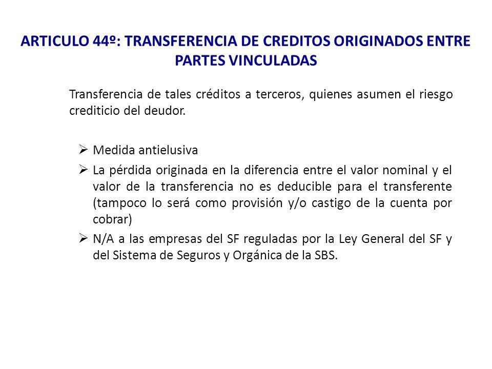 ARTICULO 44º: TRANSFERENCIA DE CREDITOS ORIGINADOS ENTRE PARTES VINCULADAS Transferencia de tales créditos a terceros, quienes asumen el riesgo credit