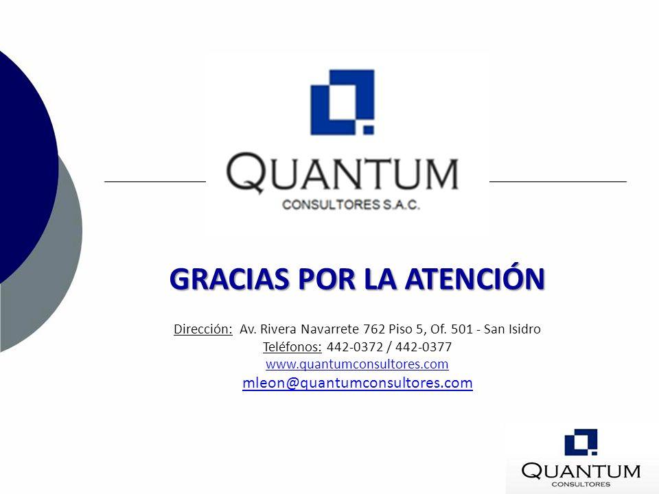 GRACIAS POR LA ATENCIÓN Dirección: Av. Rivera Navarrete 762 Piso 5, Of. 501 - San Isidro Teléfonos: 442-0372 / 442-0377 www.quantumconsultores.com mle