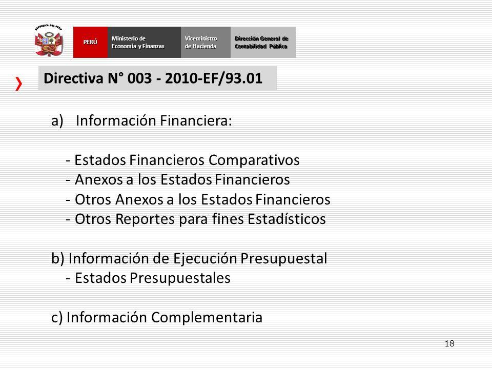 18 Dirección General de Contabilidad Pública Ministerio de Economía y Finanzas PERÚViceministro de Hacienda Directiva N° 003 - 2010-EF/93.01 a)Informa