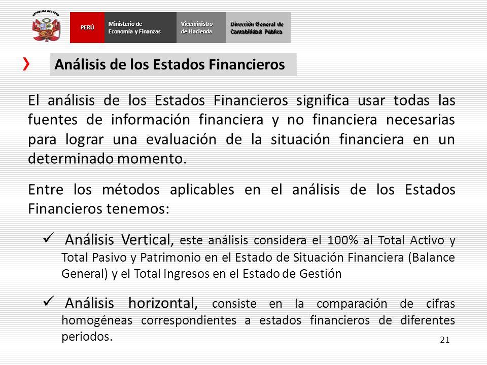 21 Dirección General de Contabilidad Pública Ministerio de Economía y Finanzas PERÚViceministro de Hacienda Análisis de los Estados Financieros El aná