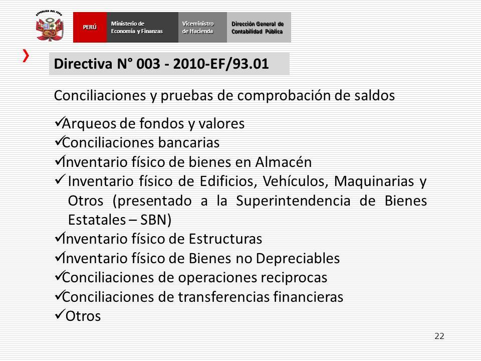 22 Dirección General de Contabilidad Pública Ministerio de Economía y Finanzas PERÚViceministro de Hacienda Directiva N° 003 - 2010-EF/93.01 Conciliac